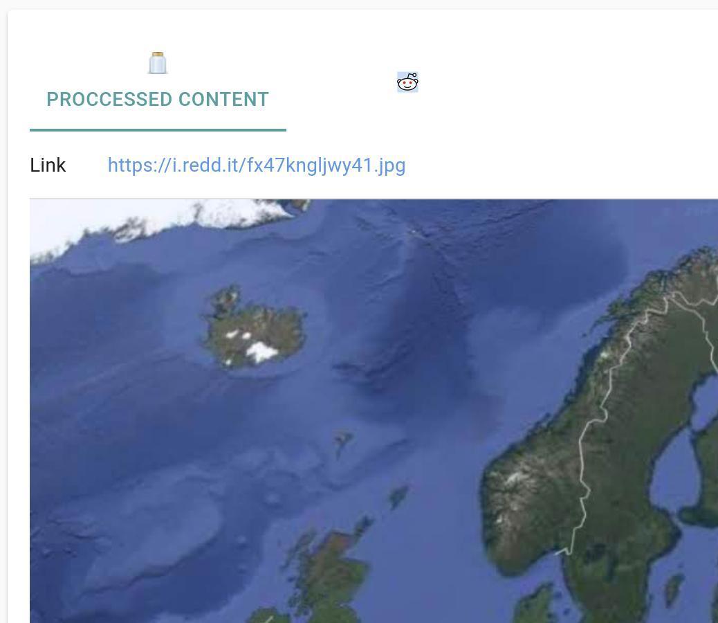 Capture d'écran de la présentation de contenu prérendu sur JARR